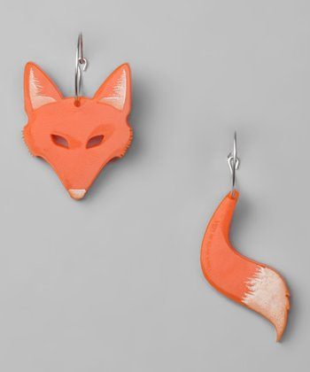 Orange Fox Hoop Earrings