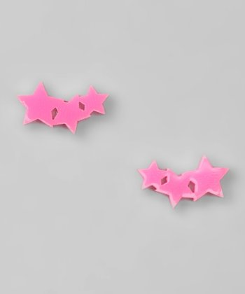 Neon Pink Star Earrings