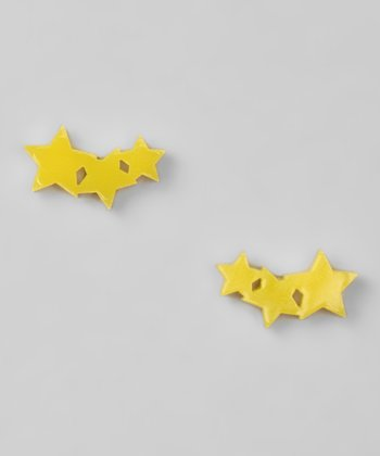 Neon Yellow Triple Star Earrings