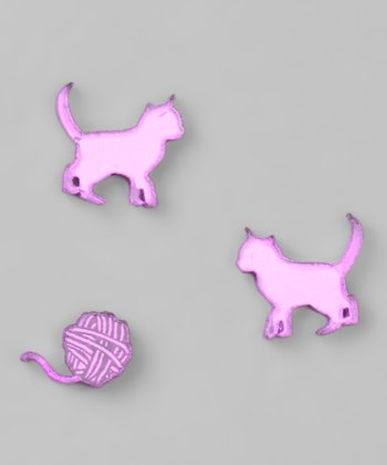 Purple Mirror Kitty & Yarn Stud Earrings