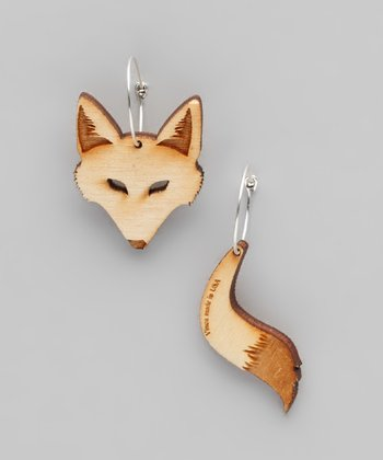 Brown Fox Hoop Earrings