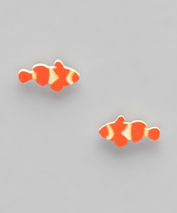Orange & White Clownfish Stud Earrings