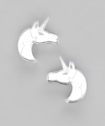 Silver Mirror Unicorn Stud Earrings