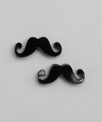 Black Moustache Earrings