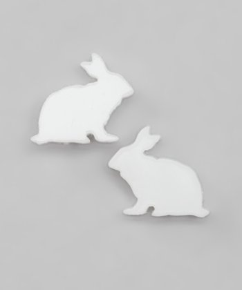 White Bunny Stud Earrings