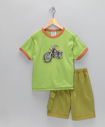 Green & Orange Motorcycle Tee & Shorts - Boys