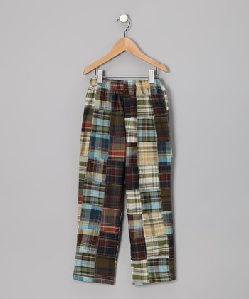 Olive Patchwork Plaid Pants - Infant, Toddler & Boys