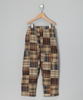 Brown Patchwork Plaid Pants - Toddler & Boys