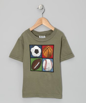 Olive Four Square Sports Tee - Toddler & Boys