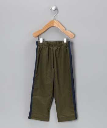 Army Green Stripe Pants - Toddler & Boys