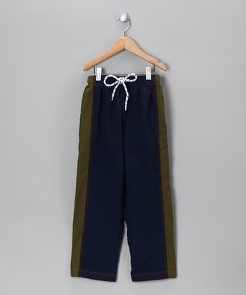 Navy & Army Green Stripe Pants - Toddler & Boys