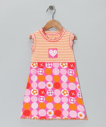 Pink & Orange Stripe Heart Dress - Toddler & Girls