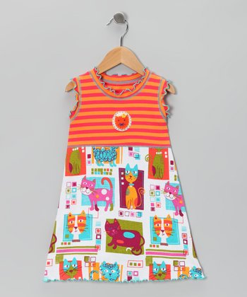 Orange Mod Cat Lettuce-Edge Dress - Toddler & Girls