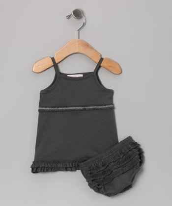Charcoal Ruffle Tank & Diaper Cover - Infant