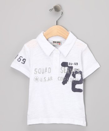 White '72' Polo - Infant, Toddler & Boys