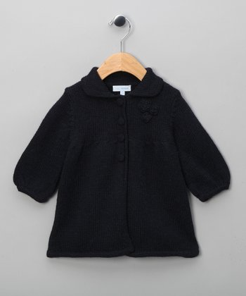 Navy Blue Knit Coat - Infant & Girls
