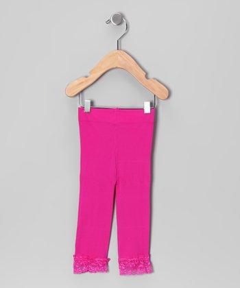 Hot Pink Lace Leggings - Toddler