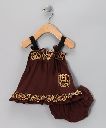 Chocolate Leopard Swing Top & Diaper Cover - Infant