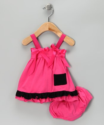 Hot Pink & Black Swing Top & Diaper Cover - Infant
