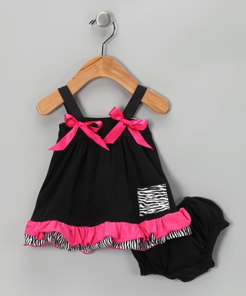 Black & Hot Pink Swing Top & Diaper Cover - Infant