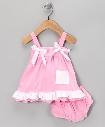 Pink & White Swing Top & Diaper Cover - Infant