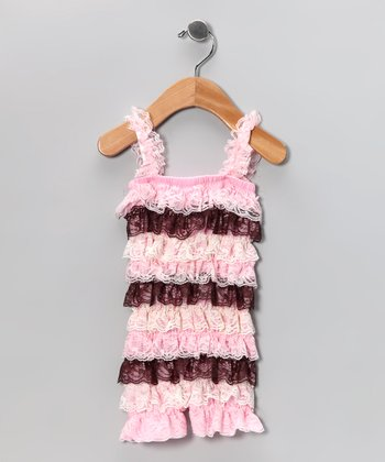 Light Pink & Brown Lace Ruffle Romper - Infant, Toddler & Girls