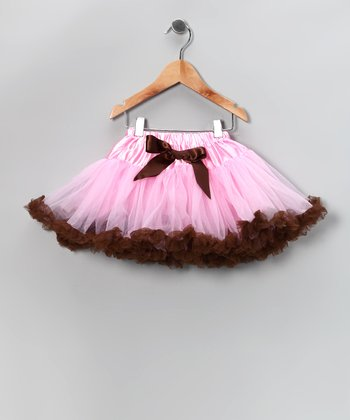Light Pink & Chocolate Pettiskirt - Infant, Toddler & Girls
