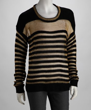 Miss Finch Black & Gold Stripe Sweater