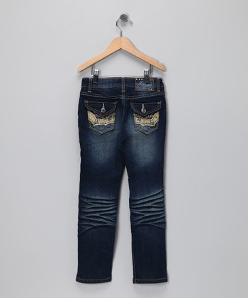 Fade Wash Button Pocket Jeans  - Girls
