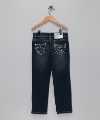 Medium Wash Cross Pocket Jeans - Girls