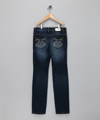 Medium-Wash Pocket Stitch Jeans - Girls