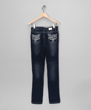 Dark-Wash Damask Embroidered Skinny Jeans - Toddler & Girls