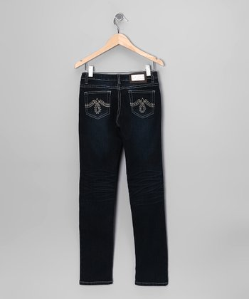 Dark-Wash Embroidered Skinny Jeans - Girls