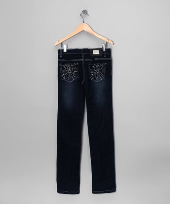 Dark-Wash Embroidered Sun Skinny Jeans - Toddler & Girls