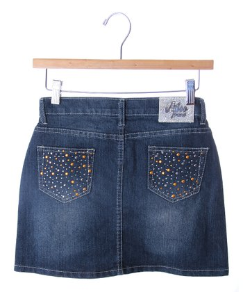 Blue & Orange Studded Denim Skirt - Girls