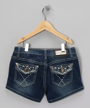 Blue Embroidered X Denim Shorts - Girls