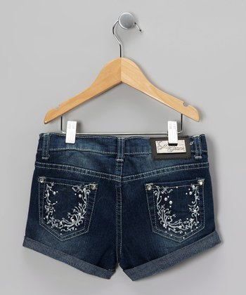 Blue Embroidered Roots Denim Shorts - Girls