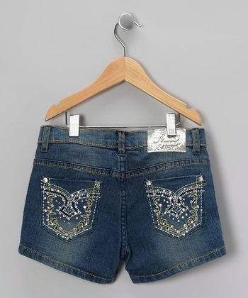 Blue Gold Embroidered Denim Shorts - Girls