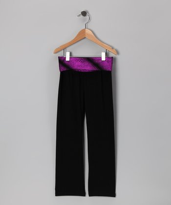 Black & Purple Sequin 'Super Star' Yoga Pants