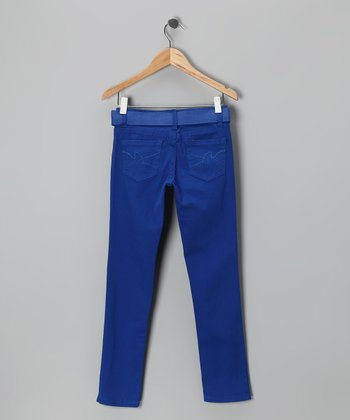 Royal Blue Skinny Jeans & Belt - Girls