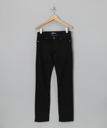 Miss Jeans Black Twill Skinny Pants - Girls