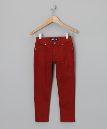 Miss Jeans Red Twill Skinny Pants - Girls