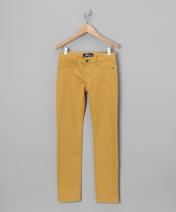 Miss Jeans Yellow Twill Skinny Pants - Girls