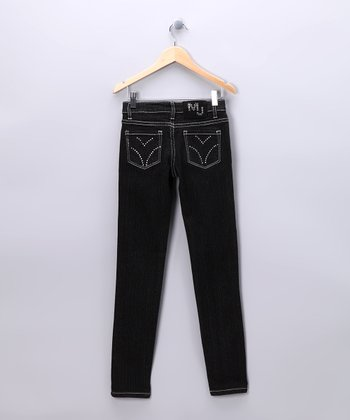 Black Distressed Skinny Jeans - Girls