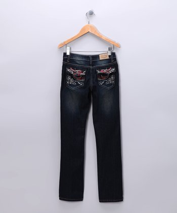 Dark Wash & Red Rhinestone Bootcut Jeans - Toddler & Girls