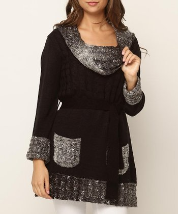 Black Double Pocket Sweater Tunic