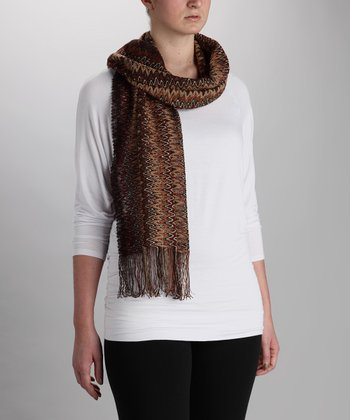 Brown Blurry Zigzag Wool-Blend Scarf