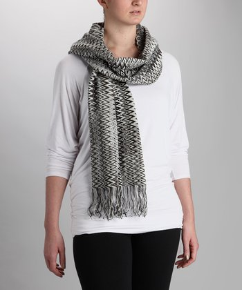Black & Gray Sharp Zigzag Scarf