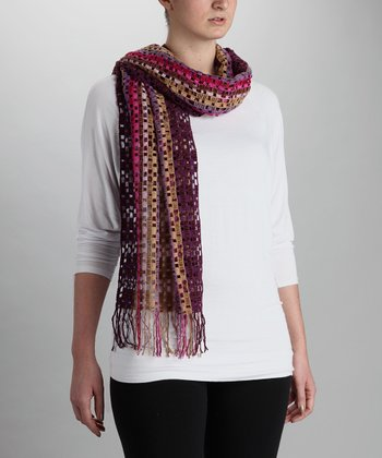 Purple & Tan Checkered Knit Wool-Blend Scarf