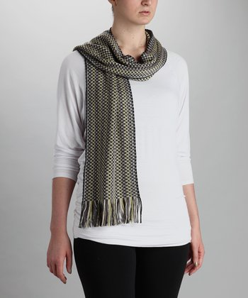 Yellow & Gray Two-Tone Wool-Blend Scarf
